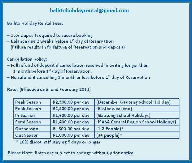 ballitoholidayrental@gmail.com Rates - Ballito Holiday Accommodation