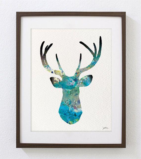 Deer Art Watercolor Painting - 8x10 Archival Print - White-tailed Deer Print - Teal and Gray Deer Silhouette via Etsy