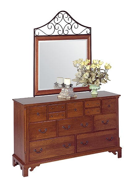 Chapter Inspired From Colonial Revival Period. Cherry Triple Dresser W/  Metal Framed Mirror (lightly Distressed) By Colonial Furniture