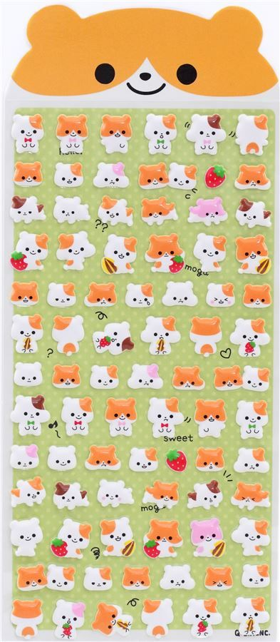 cute hamster animal fruit mini puffy 3D sponge stickers from Japan 3