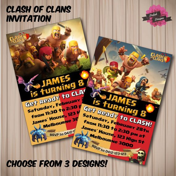 CLASH OF CLANS Birthday Invitation. Choose from 3 by DaliahDesigns