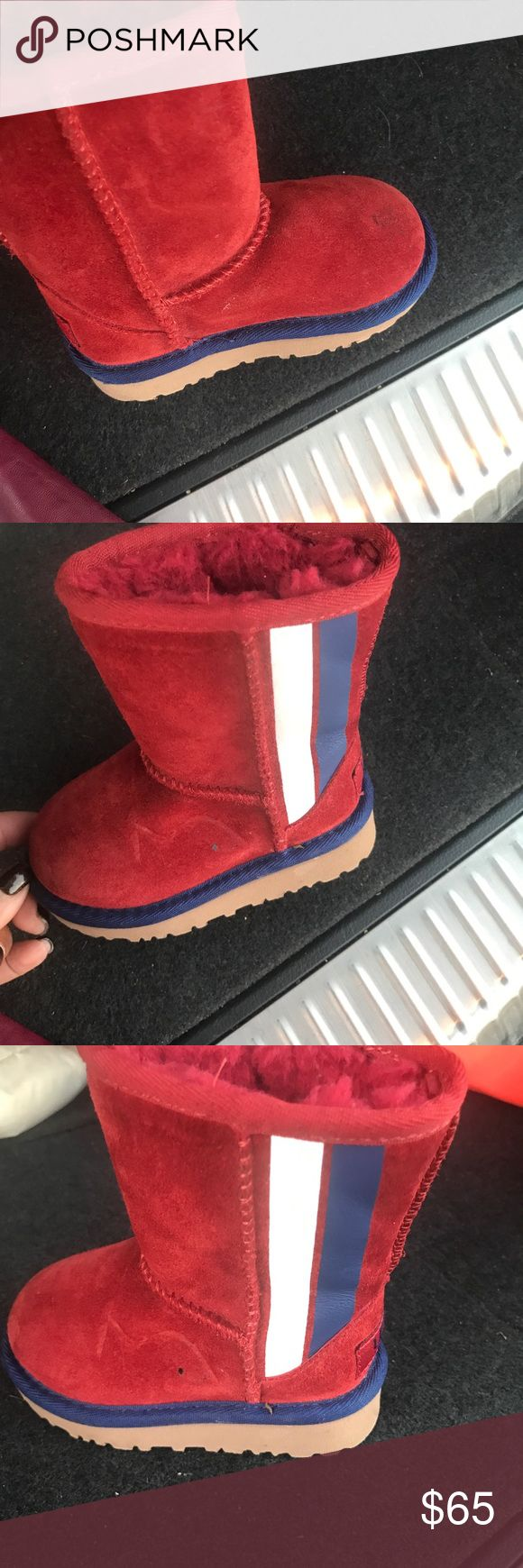 Toddler girls UGGS Adorable  brand new burgundy Uggs with navy and white piping.  Fit is too tight for my baby  and waited too long to return them so my loss is your gain. Just in time for this weather or would make a great Xmas gift for your lil DIVA.   SMOKE FREE/Animal free house UGG Shoes Boots