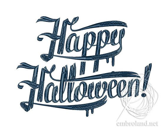 Happy Halloween Embroidery Text Halloween Embroidery Design