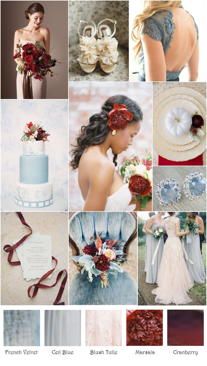 Cranberry champagne wedding - French Blue Blush Marsala Cranberry Inspiration Board
