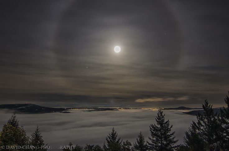 Moon halo over Brentwood, Saanich Inlet