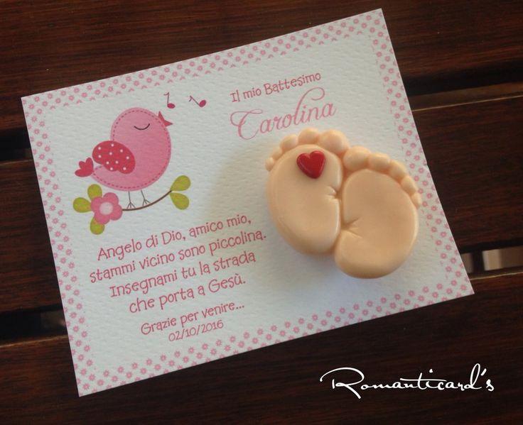 Biglietto personalizzato con calamita di piedini con cuore by Romanticards, by Romanticards e Little Rose Handmade, 1,60 € su misshobby.com