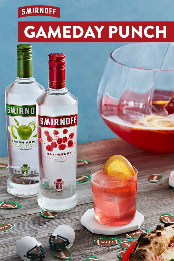 "Let your entire football fam get the ""W"" with this simple game day drinks recipe. It's the perfect big game cocktail made from the most awarded name in flavors.  Recipe for Gameday Punch: 1 cup Smirnoff Green Apple, 1 cup Smirnoff Raspberry, 2 cups lemonade, 4 cups cranberry juice, 2 cups ginger ale. Serve in punch bowl over ice. Garnish with sliced fresh citrus. Serves 8-10."