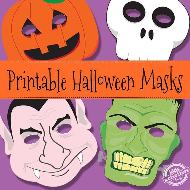 Create you own DIY Halloween Costume for Kids with these fun and FREE Printable Halloween Masks! They're available in four different versions!