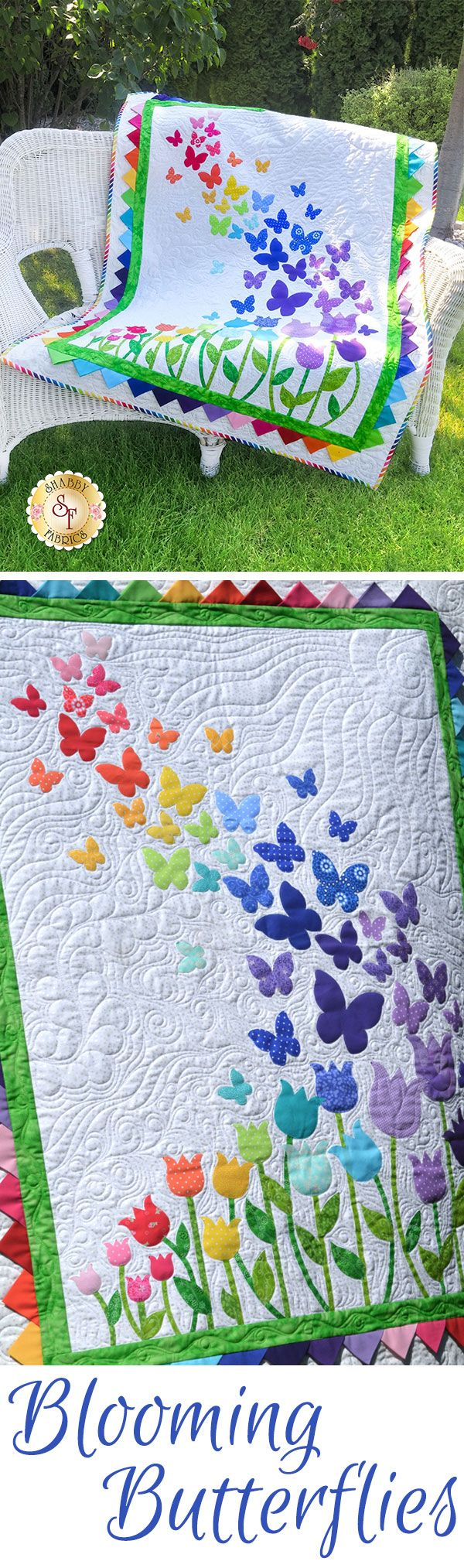 "Blooming Butterflies Quilt Kit  Brighten your little girls room with this darling Blooming Butterflies Quilt! This Shabby Fabrics Exclusive quilt features a beautiful array of butterflies floating on a gentle breeze over a bed of blooming tulips, finished with bright prairie points for the inner border. Finishes to 40½"" x 51½"". All applique shapes are pre-cut and pre-fused for your convenience."