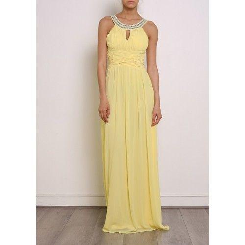 Vestido Fiesta Largo Collar Amarillo | Suen-Vestidos de fiesta