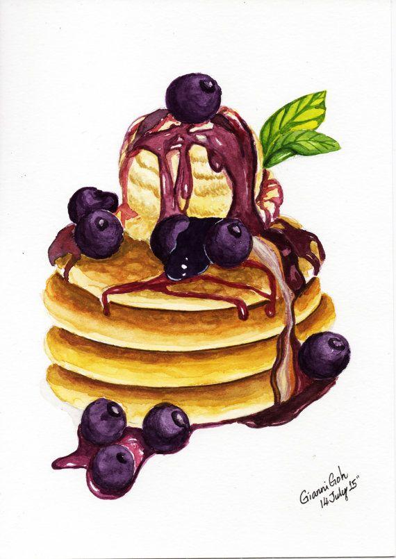 Original Watercolor Blueberry Ice Cream Pan by NijiHankoNPainting