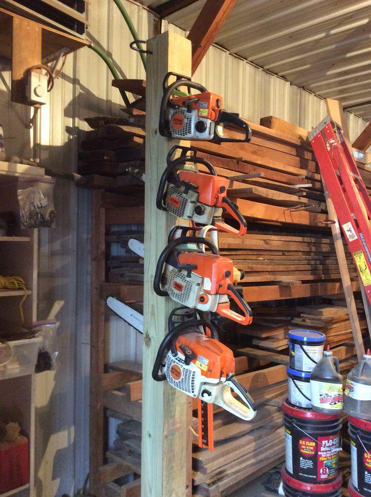 Chain saw storage   Garage organization  Garage organization Garage tools Garage storage