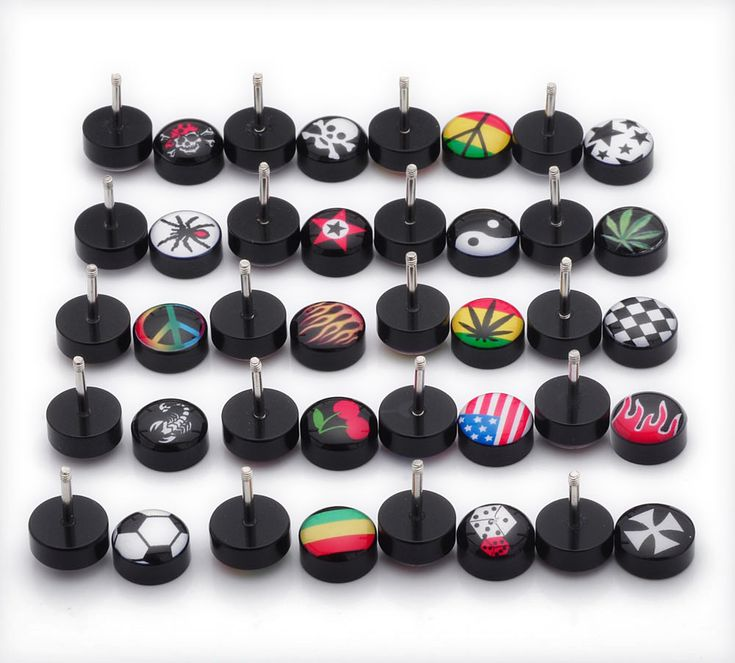 2017 Rushed Brincos Brinco 1 Pair Free Shipping Fake Ear Plugs Studs Earrings For Logo Print Anti-allergic Piercing Jewelrys
