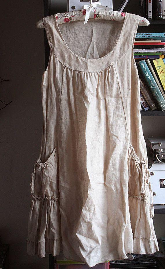 Vintage linen tunic dress , natural linen, pockets, ruffles