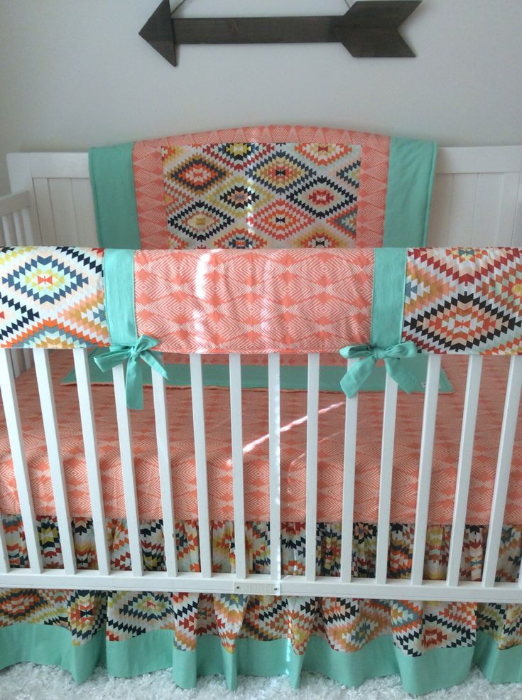 A personal favorite from my Etsy shop https://www.etsy.com/listing/293901943/baby-girl-crib-bedding-peach-mint  Baby girl crib bedding in peach and mint Aztec and feathers