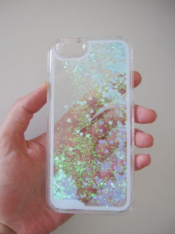 online retailer 46519 fc7f7 US seller iPhone 6s case clear liquid glitter water heart iridescent ...