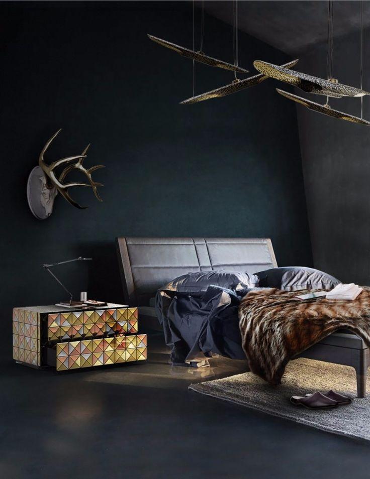 Gorgeous pixel nightstand on a dark master bedroom design.
