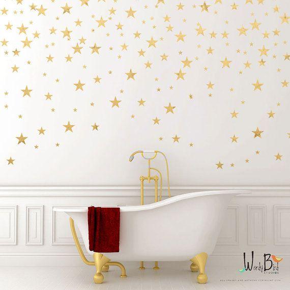 Gold Stars Wall decals Set Gold Confetti Stars by wordybirdstudios