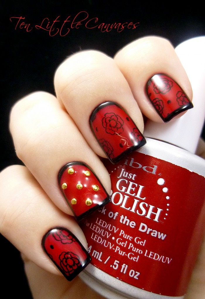 Weekly Mani: Red and Black Framed Nail Art | Ten Little Canvases