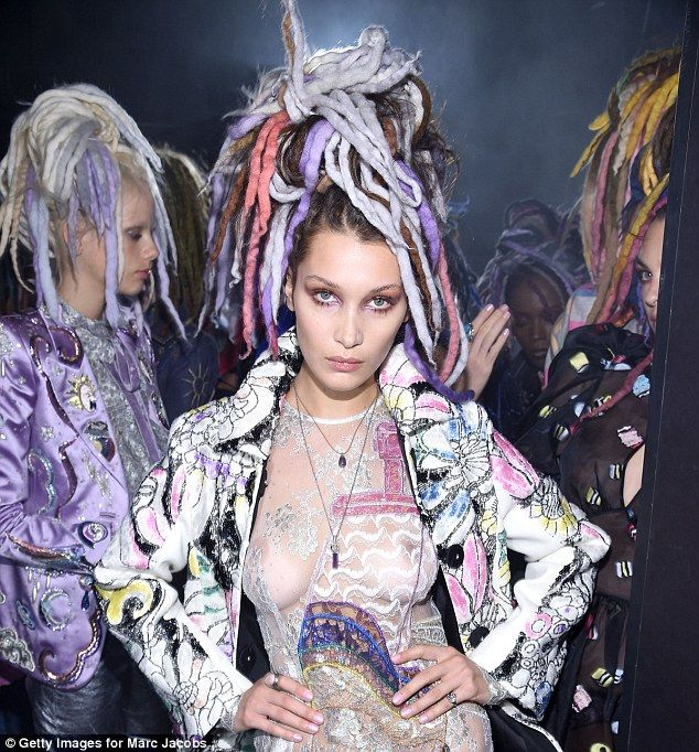 Marc Jacobs has come under fire for 'cultural appropriation'. Pictured is Bella Hadid as she models dreadlocks and a see-through lace dress