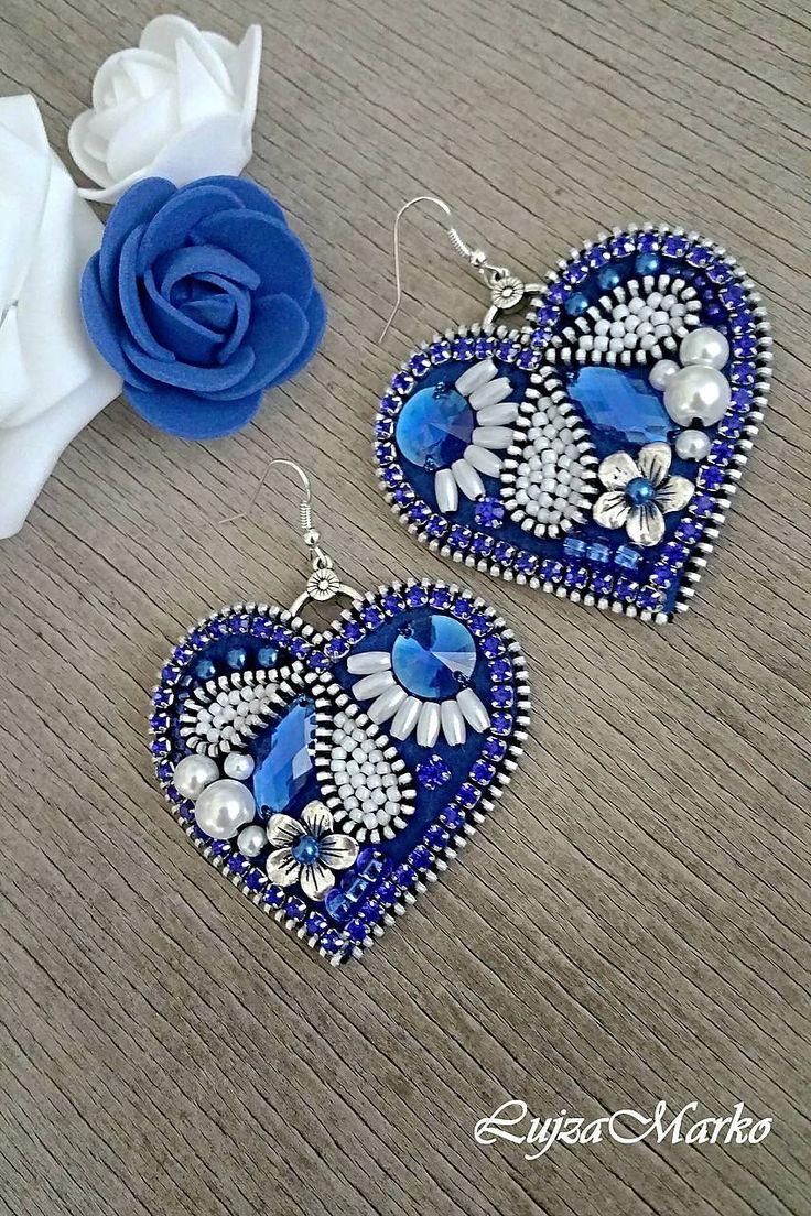 Náušnice - Modrotlač v srdci náušnice - 8118993_