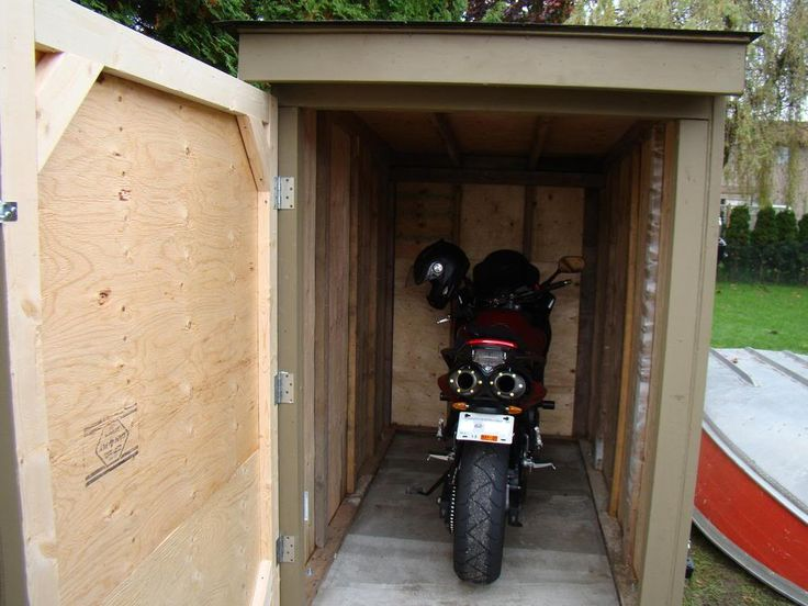 25 best ideas about motorcycle storage shed on pinterest for Motorcycle garage plans