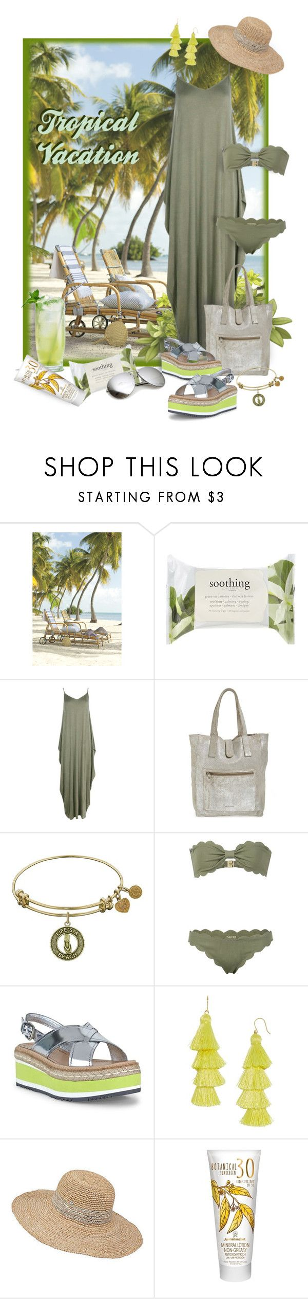 """""""Welcome to Paradise"""" by valeria-meira ❤ liked on Polyvore featuring Forever 21, Trilogy, Boohoo, Day & Mood, Marysia Swim, Prada, BaubleBar, Frontgate, Australian Gold and TropicalVacation"""