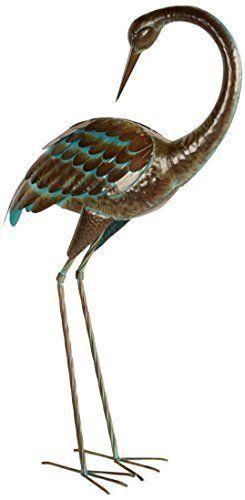 Large Standing Cranes Stencil: Metal Crane Art Bird Garden Yard Heron Sculpture Decor
