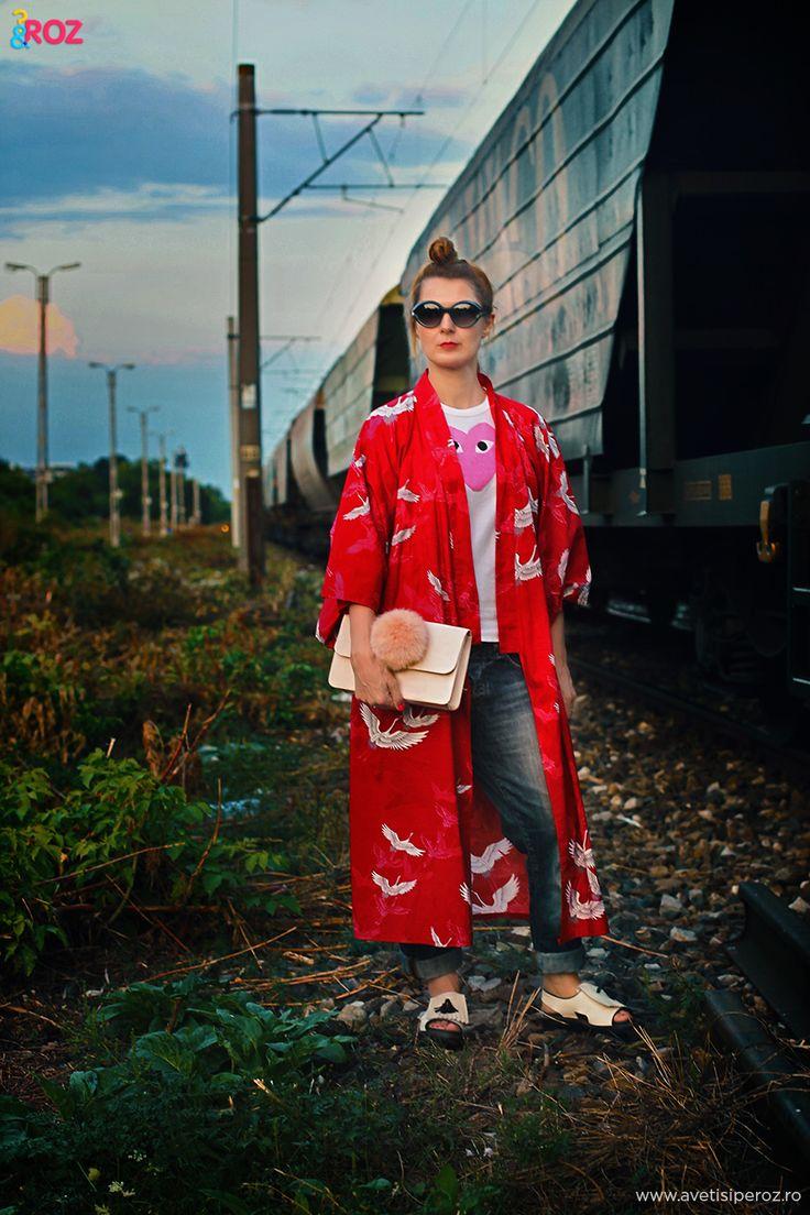 Mix and match: kimono japonez si plic cu pompon