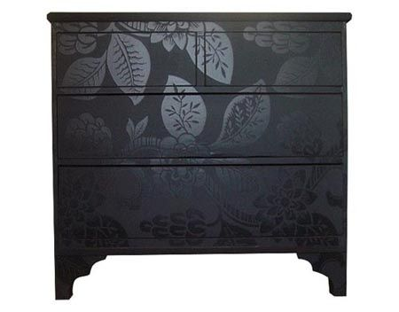 paint an old piece of furniture with flat paint, then paint a design in the same color, but a gloss finish