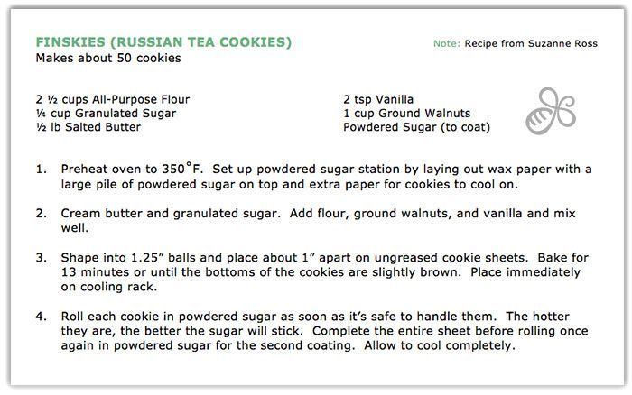 Holiday Baking | Finskies (Russian Tea Cookies)