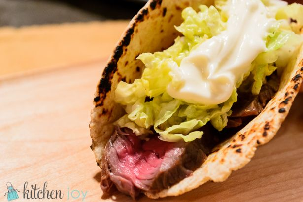 Sirloin Tacos with Quick Pickled Cabbage and Wasabi Mayo
