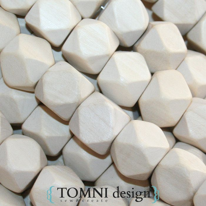 10 x Wooden Hexagonal/Geometric Beads - 17mmx17mm - Natural, Untreated Raw Wood by tomnidesign on Etsy