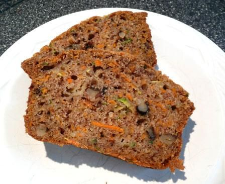 Zucchini Carrot Bread  I did brown sugar instead of white and 2/3 c apple sauce and 1/3 c oil instead of 1 c oil.  I also forgot the walnuts.    Tasty!