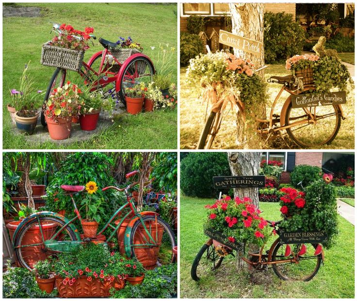 296 best recycled bike ideas projects images on for Upcycled garden projects from junk