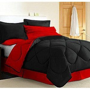 Black And Red Bedding: I recently bought a new bedroom set.  It is all black.  I want to repaint my bedroom to match.  I'm thinking of the colors red, gray, black and white.