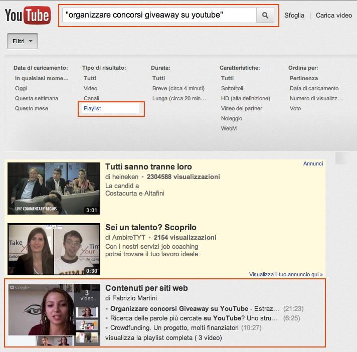 Le playlist sono un ottimo modo per entrare nella prima pagina dei risultati di YouTube anche per parole chiave competitive. Inoltre ci permettono di ampliare il nostro pubblico... Leggi tutto l'articolo http://www.tuttosuyoutube.it/playlist-seo-youtube-internal-linking/ #seo #videomarketing #youtubemarketing #youtube #seovideo