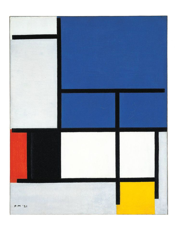 Piet Mondrian's Composition with Large Blue Plane, Red, Black, Yellow, and Gray (1921), from the Dallas Museum.