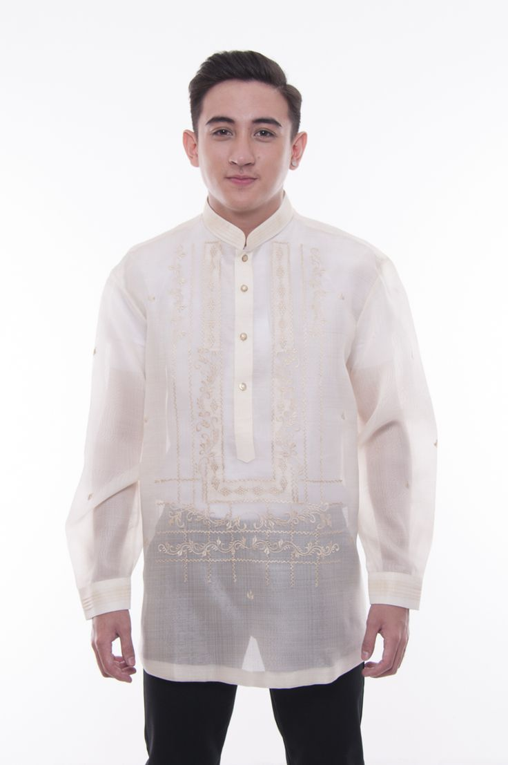 This intricately embroidered barong is made out of Cocoon, an intricately-woven fabric that closely resembles Pina. It has an organza lining that helps keep its nice shape and ruched chinese collar and cuffs. This design has a beautiful luster and would look great on for any event.  Get yours at barongwarehouse.com  #filipinoculture #barongtagalog #ilovebarongs #madeinthephilippines