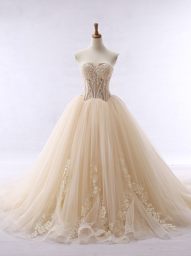 cf6c83834cd Champagne Ball Gown Wedding Dresses Illusion