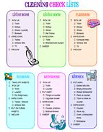 Kids Cleaning Checklist: Gives directions on how to clean each room