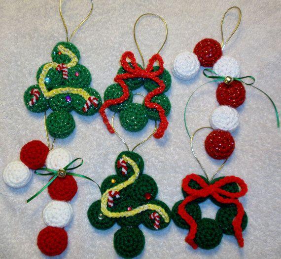 Crochet Bottle Cap Christmas Ornament Set Of 3