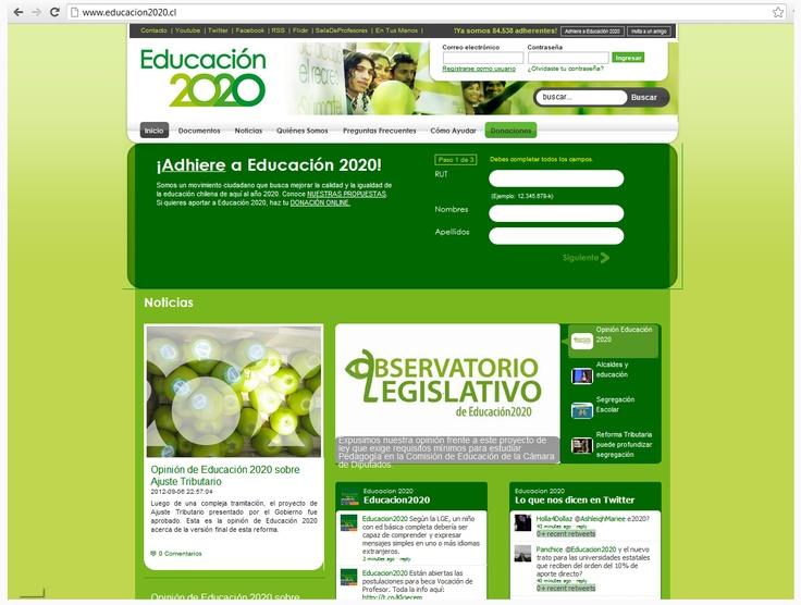 Página Web Oficial: www.educacion2020... Sección Noticias desactualizada desde 06-09-2012. Hay un Gadget de Twitter que le da dinamismo a la página, mientras que el otro, arroja resultados equivocados.