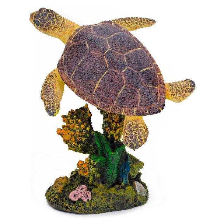 Penn Plax Swimming Sea Turtle Aquarium Figure - Medium - 3L x 4.5H in. - RR1107