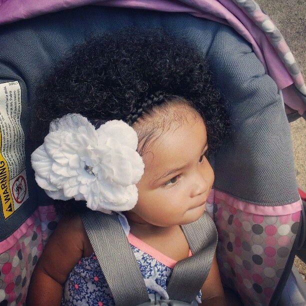 Love this black latina baby girl puffy braid flower hairstyle