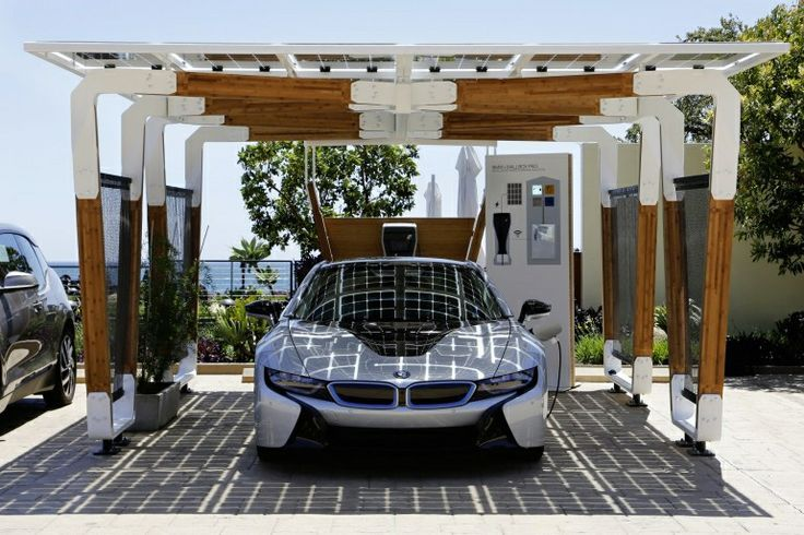 Bmw I8 Electric Car In It S Solar Carport Motorcycle 2019 Kanopi Desain Garasi