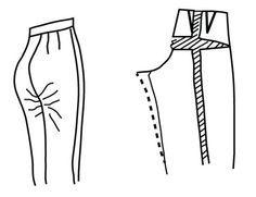 Illustrazione raffigurante modello alterazione di pantaloni per prodruding derriere