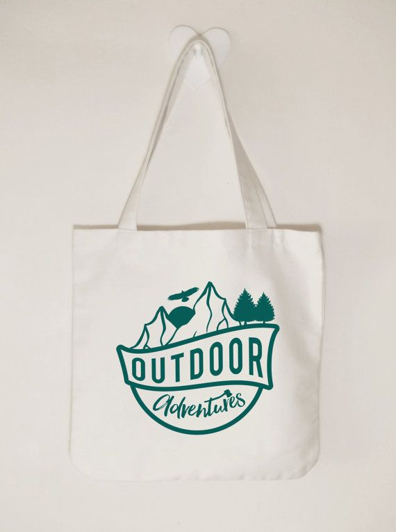 Outdoor adventures Cotton canvas tote bag by ToastStationery
