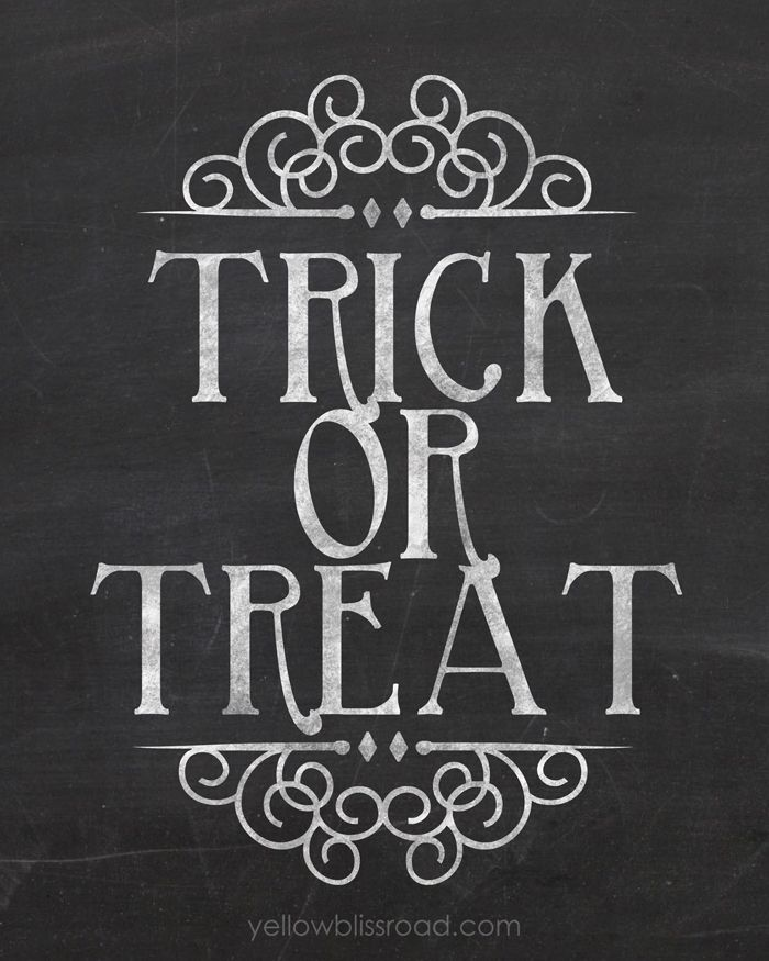 Trick or Treat Chalkboard Printable - A perfect and budget friendly way to add some Halloween charm