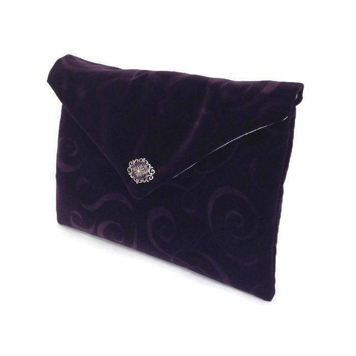 Purple evening bag, Velvet clutch purse, Silver handbag, Cotton hand bag, Luxury handbag, Special occasion bag, Party handbag, Holiday purse by BelleEpoqueCreations on Etsy